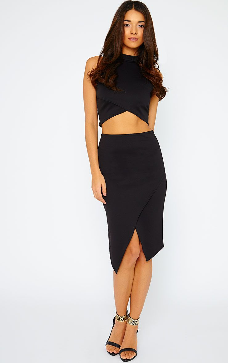 Lia Black Wrap Midi Skirt 1