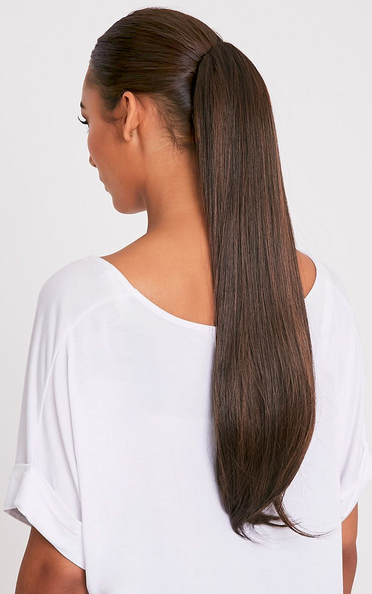 Warm Bruntette Clip In Straight Ponytail