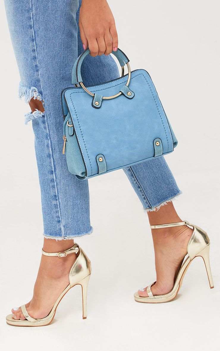 Blue Hoop Handle Shoulder Bag