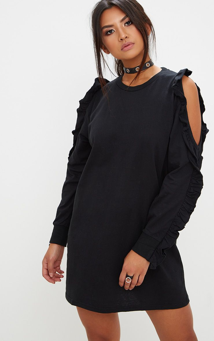 Black Frill Cold Shoulder T Shirt Dress