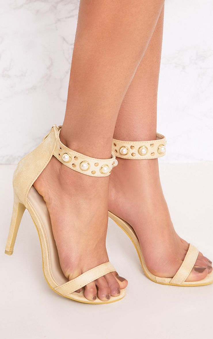 Cream Pearl Strap Heels