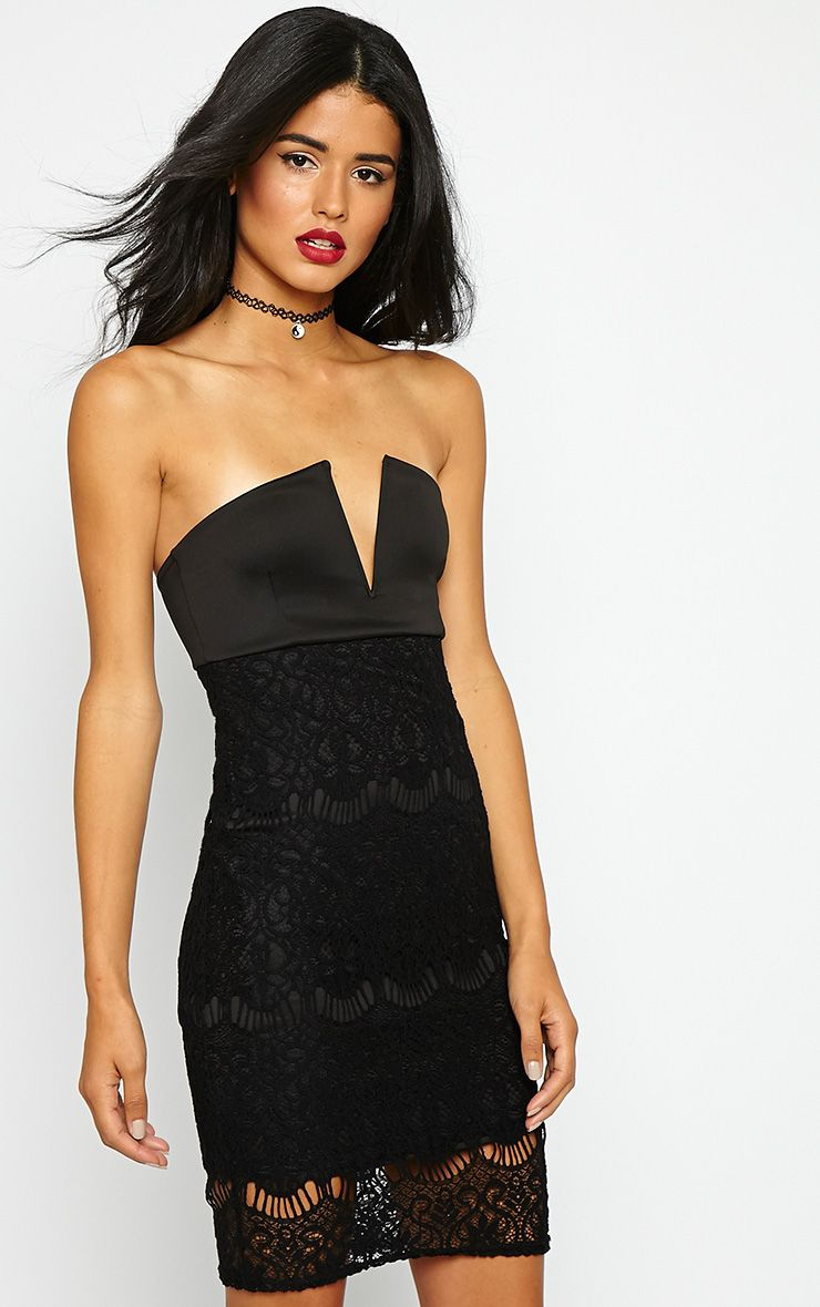 Georgiana Black Plunge Bandeau Lace Dress 1