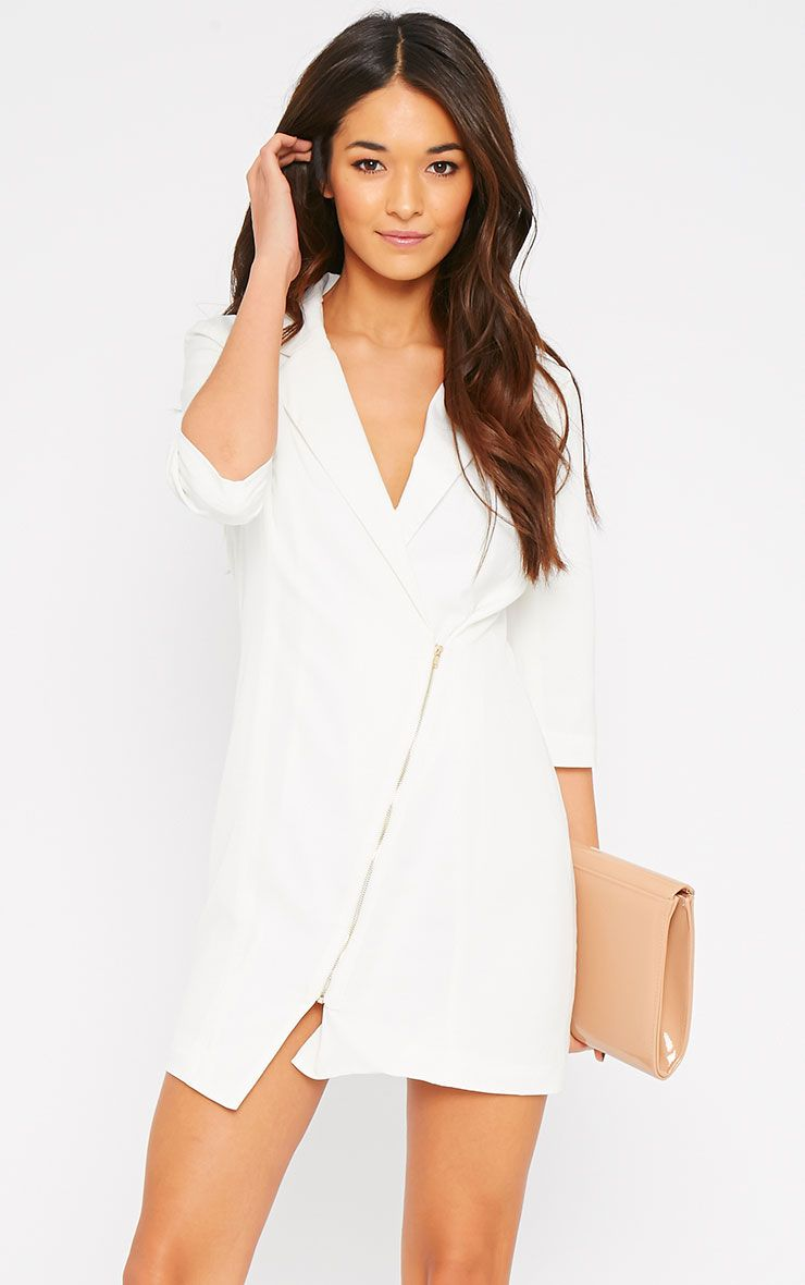 Maryam Cream Longline Asymmetric Zip Front Blazer Dress 1