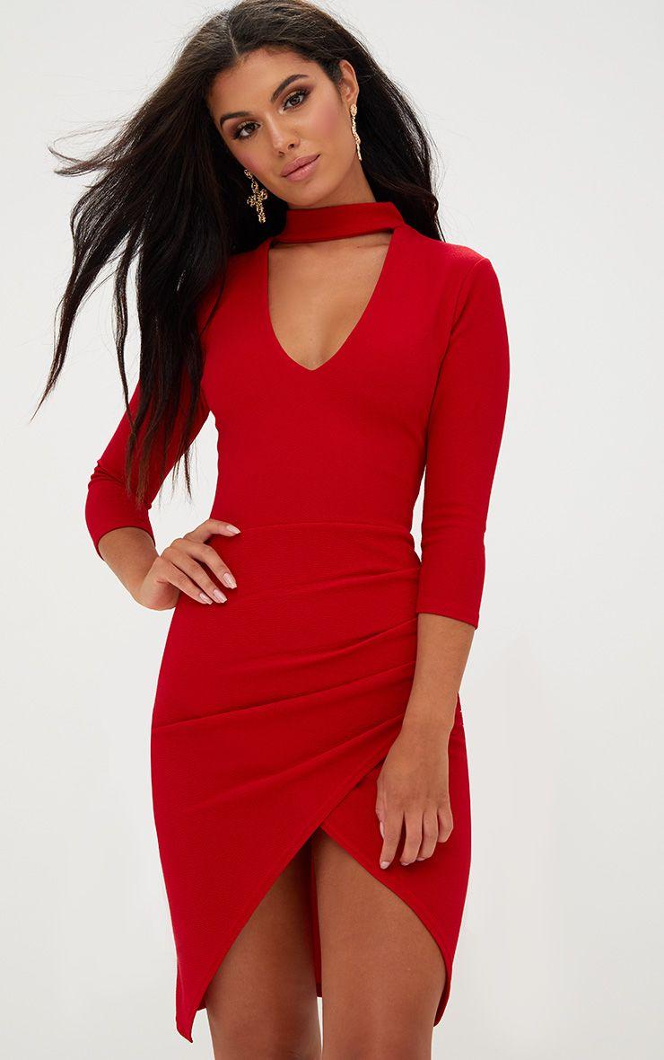 Red Choker Wrap Front Midi Dress