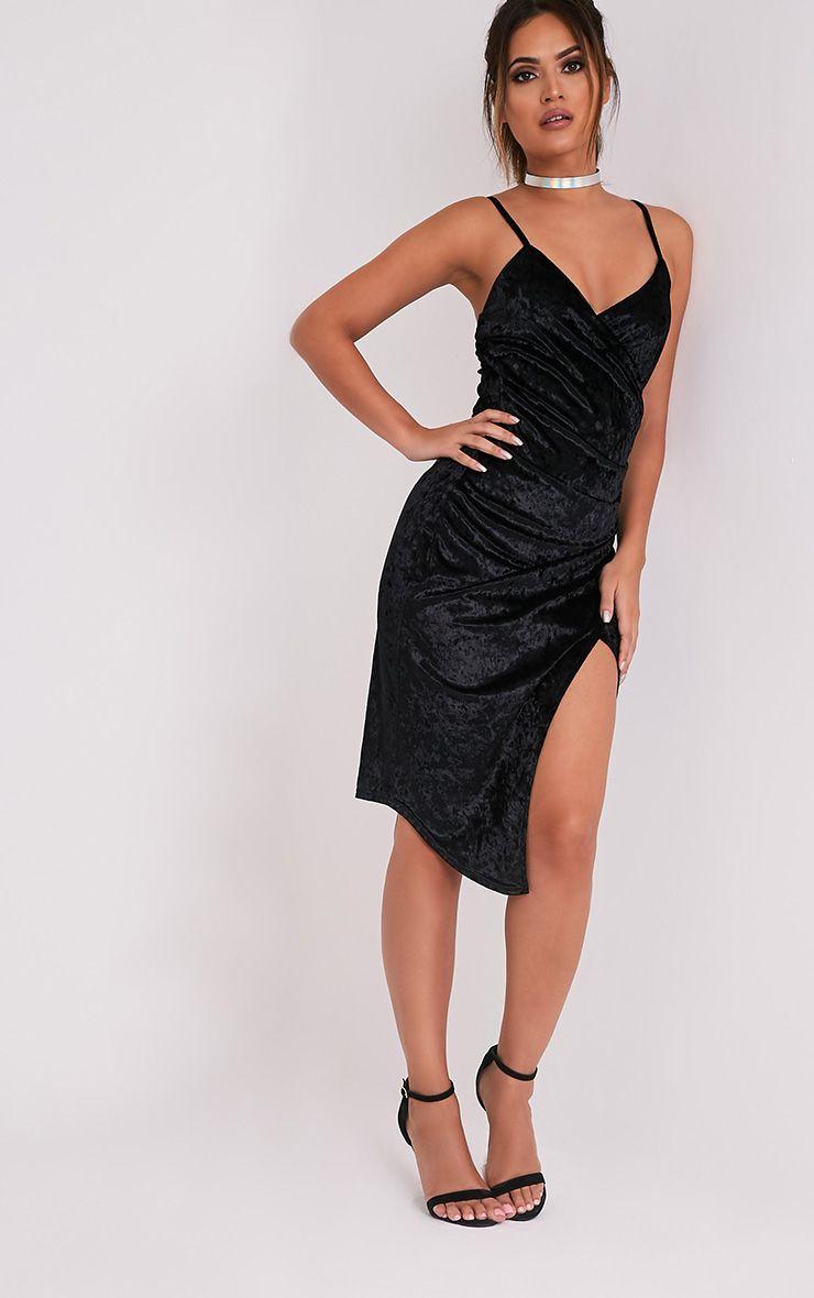 Prina Black Crushed Velvet Strappy Wrap Over Midi Dress 5