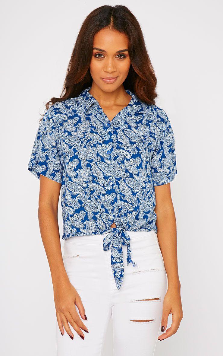 Arizona Blue Paisley Tie Front Crop Shirt 1
