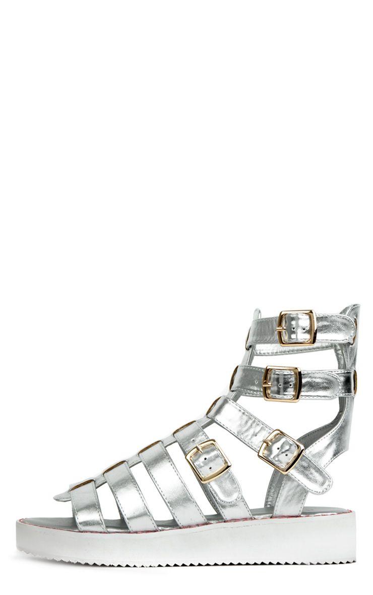 Nadia Silver Metallic Flatform Sandals 1