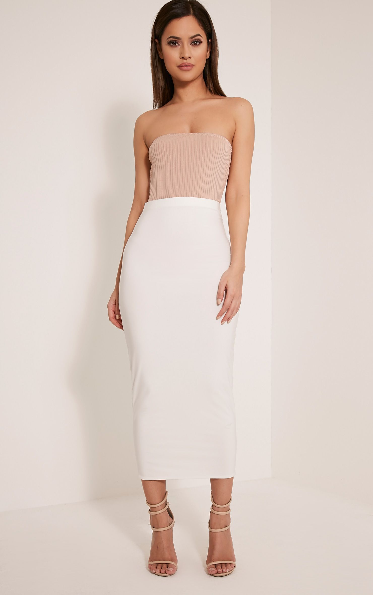 Steffany Cream Slinky Long Line Midi Skirt