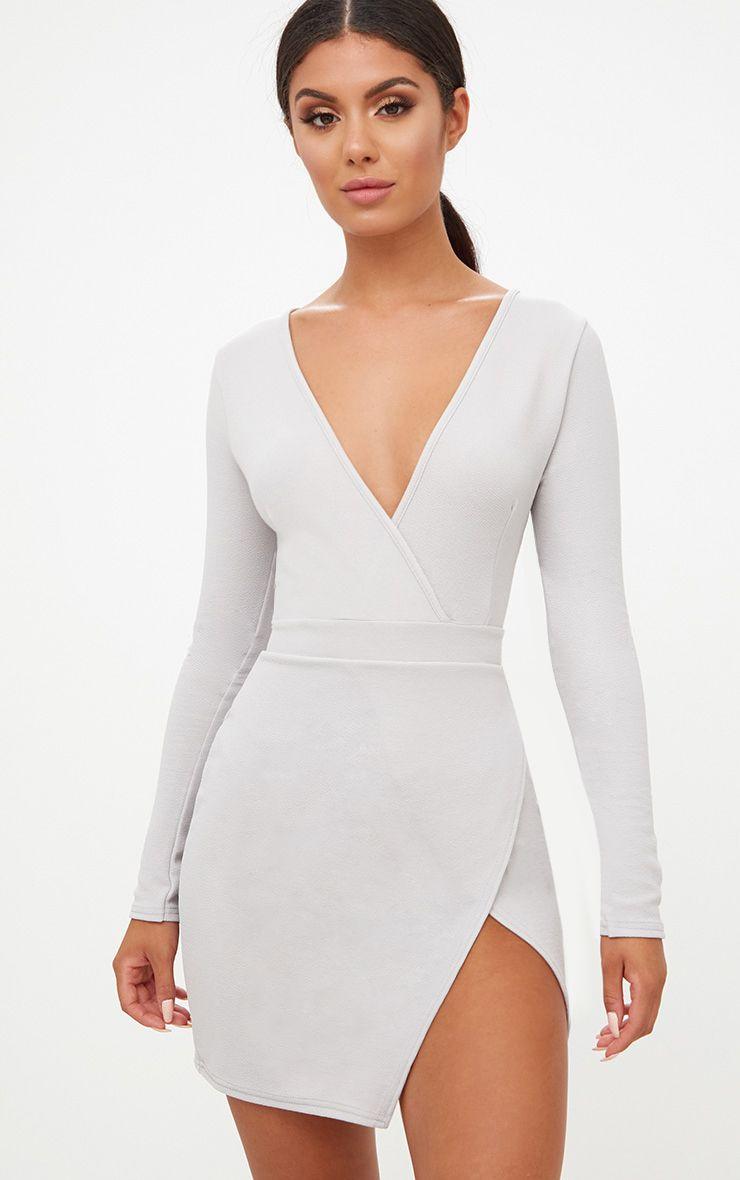 Ice Grey Plunge Wrap Detail Thigh Split Bodycon Dress