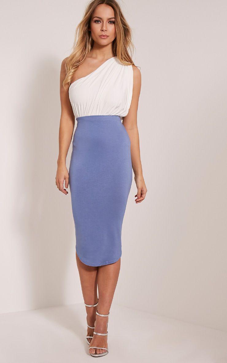 Ariana Petrol Blue Curved Hem Midi Skirt 1