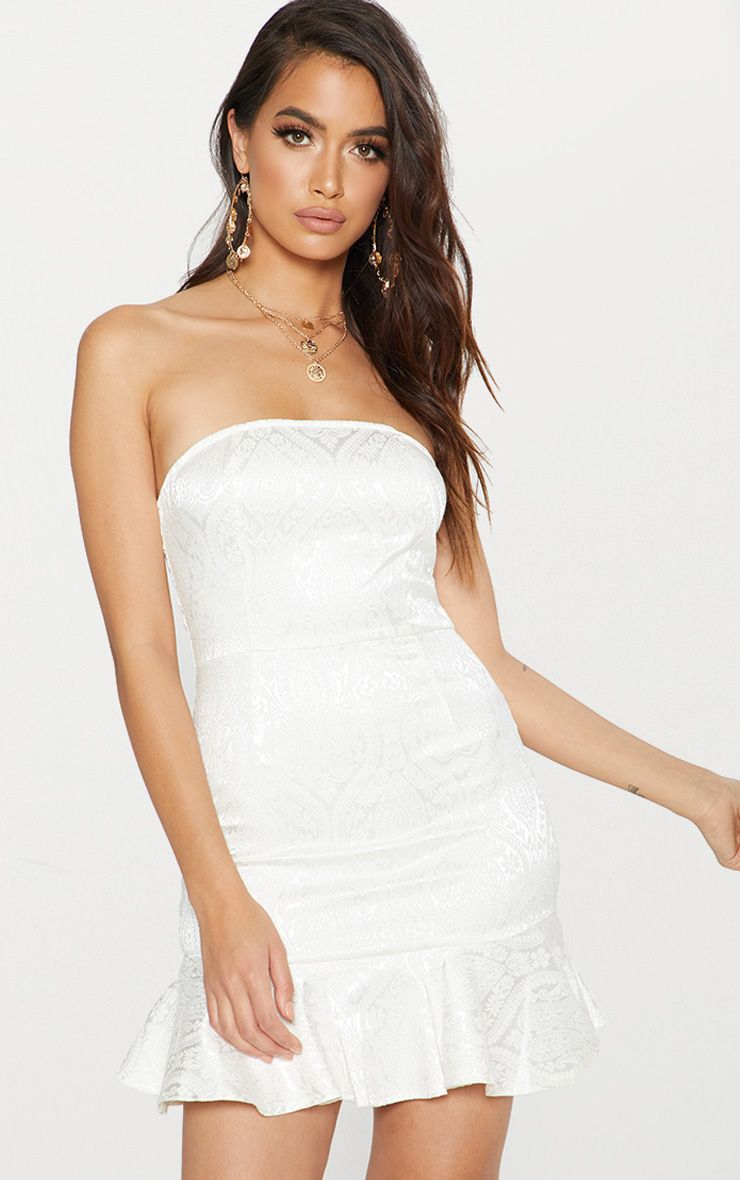 White Jacquard Bandeau Frill Hem Bodycon Dress