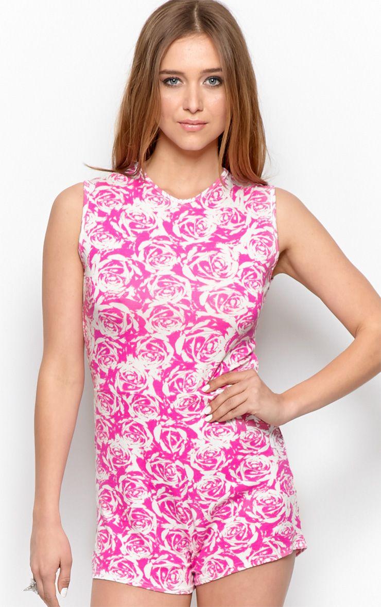 Lydia Pink Rose Print Playsuit-S/M 1