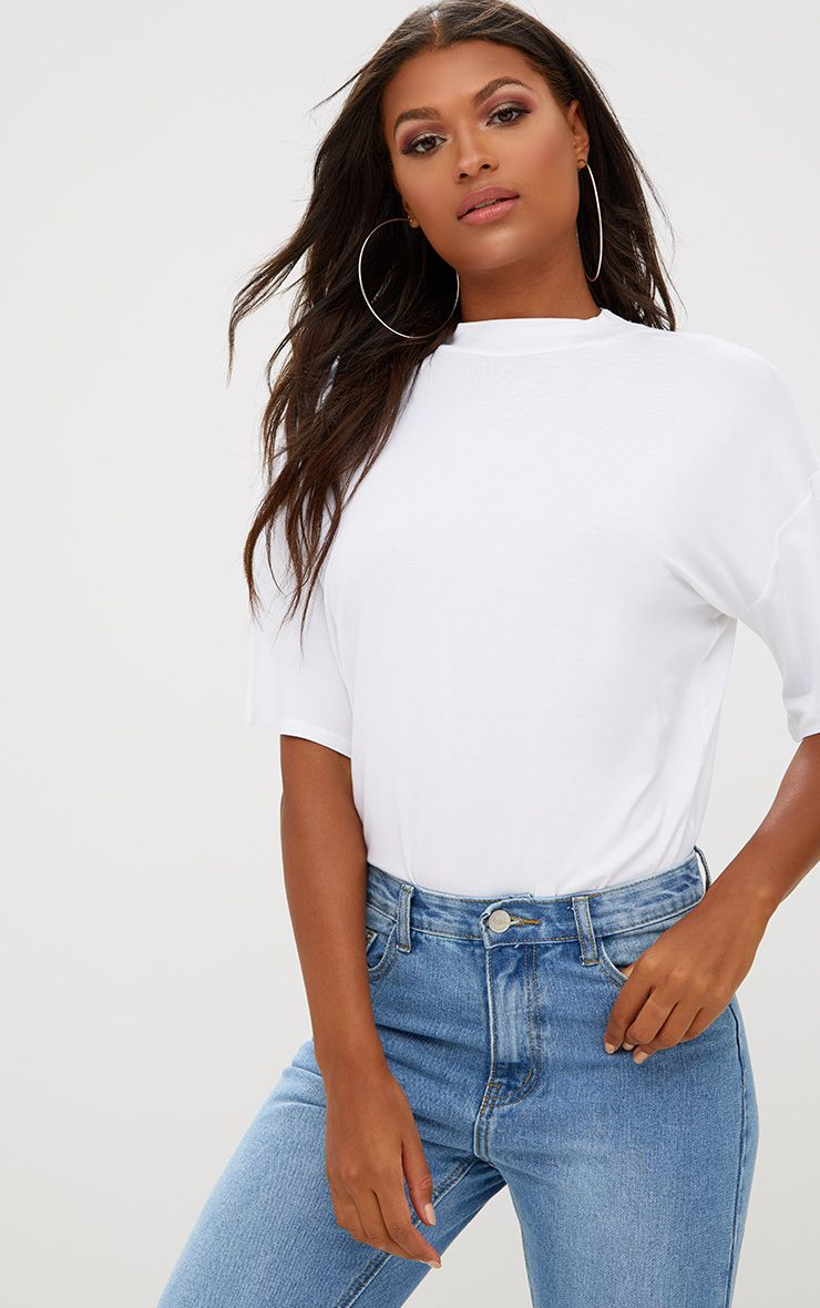 White Basic Oversized Cropped Sleeve T Shirt