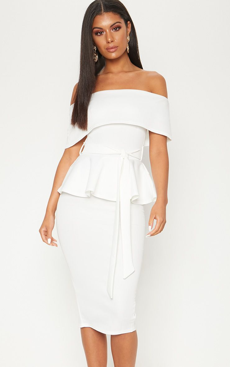 White Bardot Peplum Midi Dress