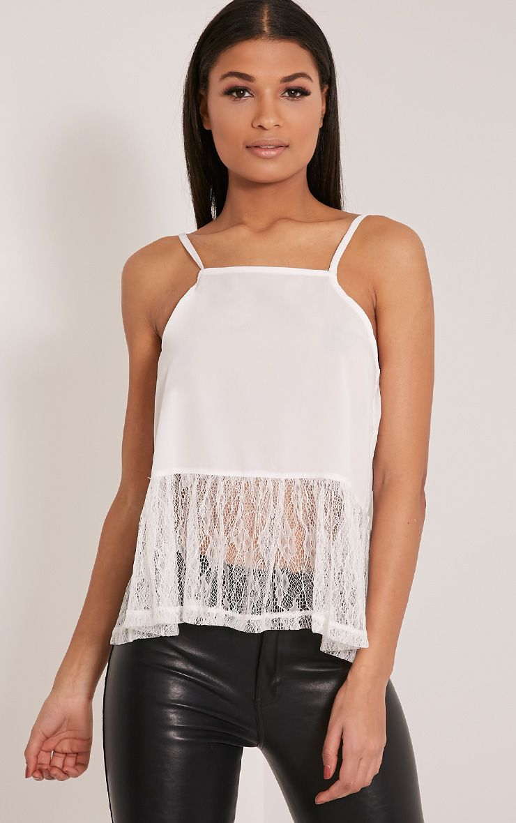 Lilibeth White Lace Peplum Cami Top 1