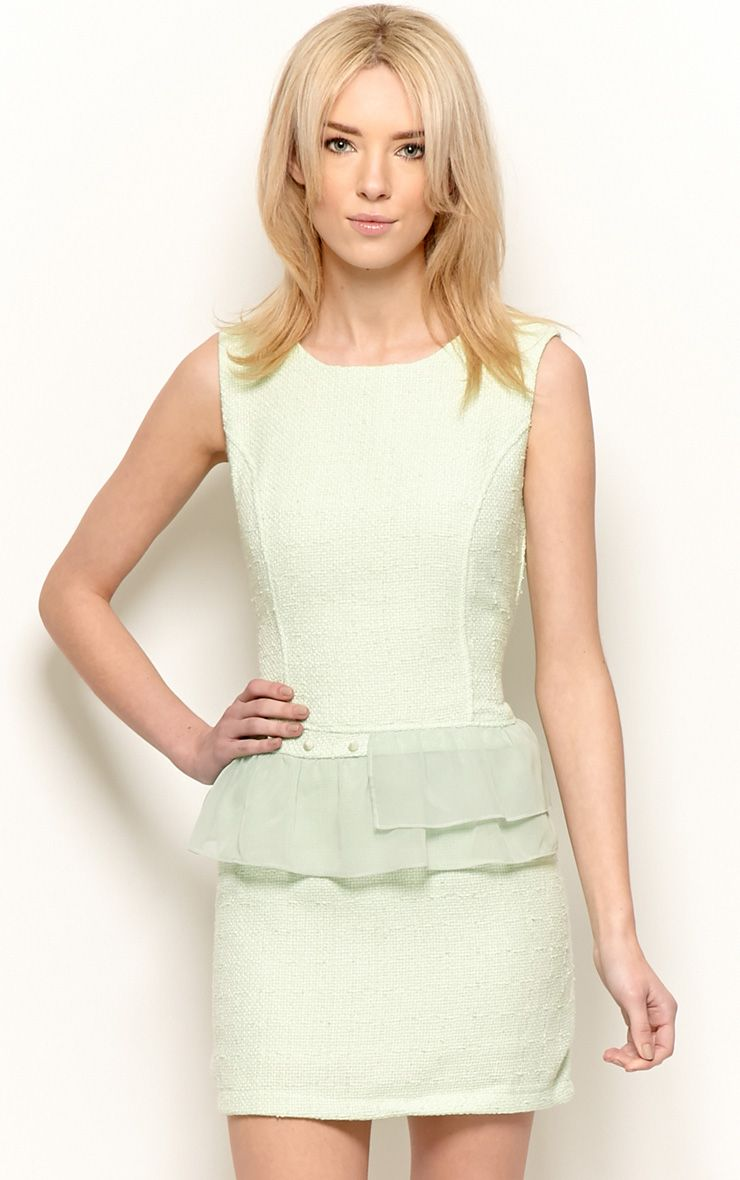 Lola Mint Boucle Peplum Dress  1