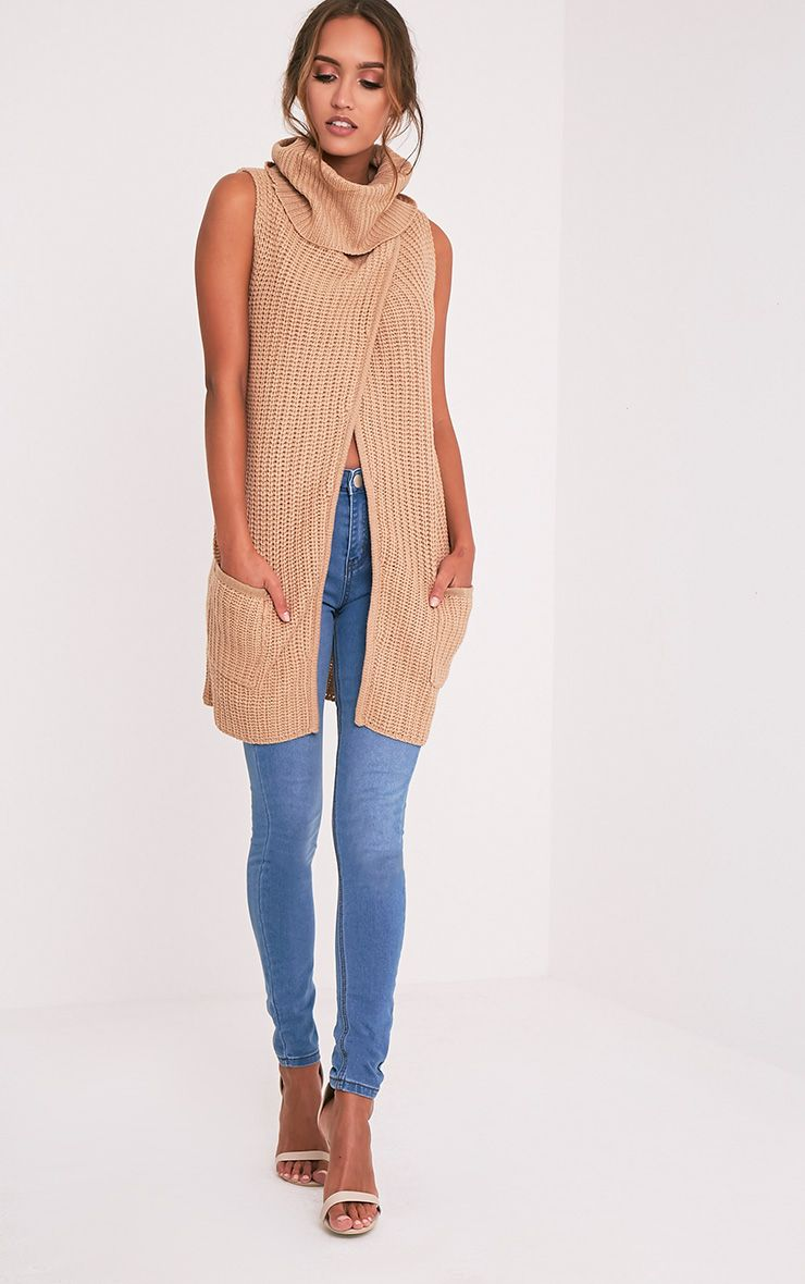 Merial Camel Sleeveless Cowl Neck Jumper 1