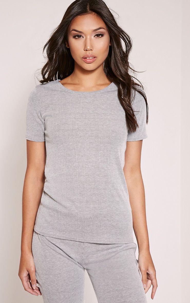 Rosie Grey Fine Ribbed T-Shirt 1