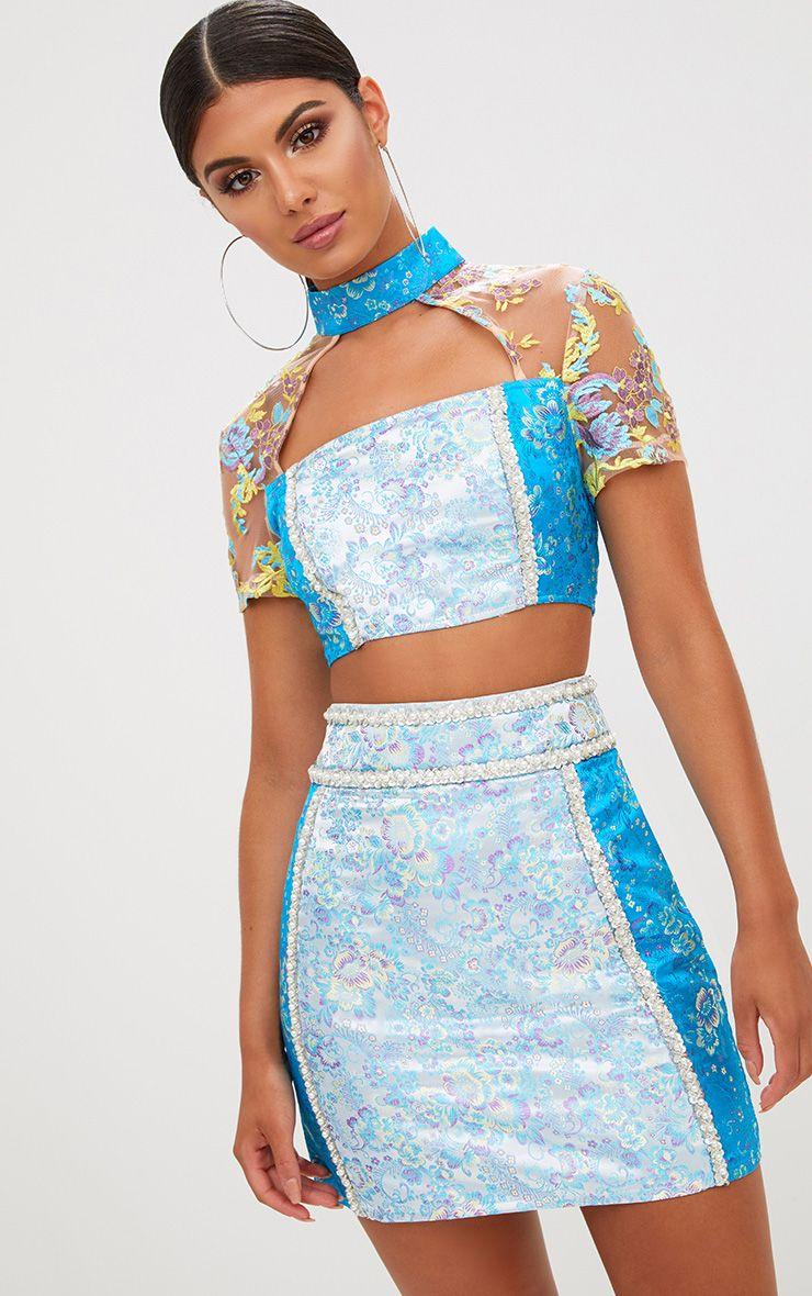 Premium Blue Contrast Jacquard Embellished Mini Skirt