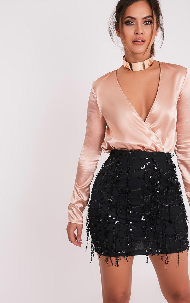 Kelley Black Sequin Detail Mini Skirt