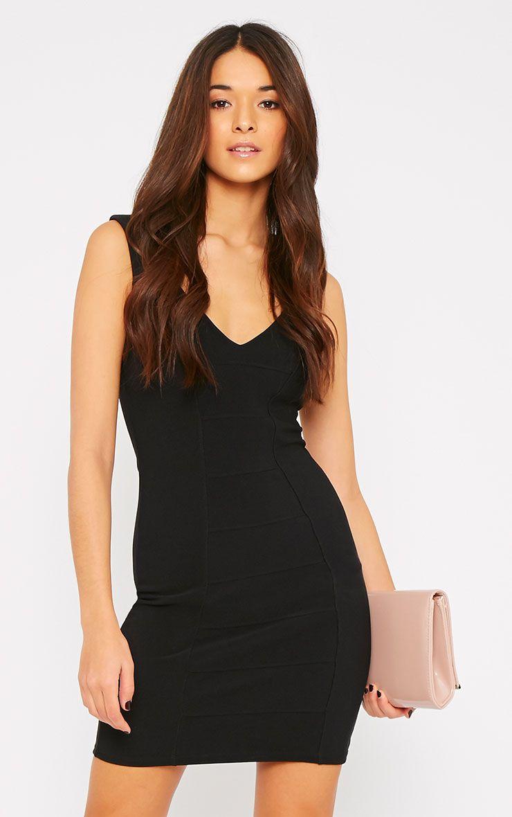 Mya Black V Neck Bandage Dress  1