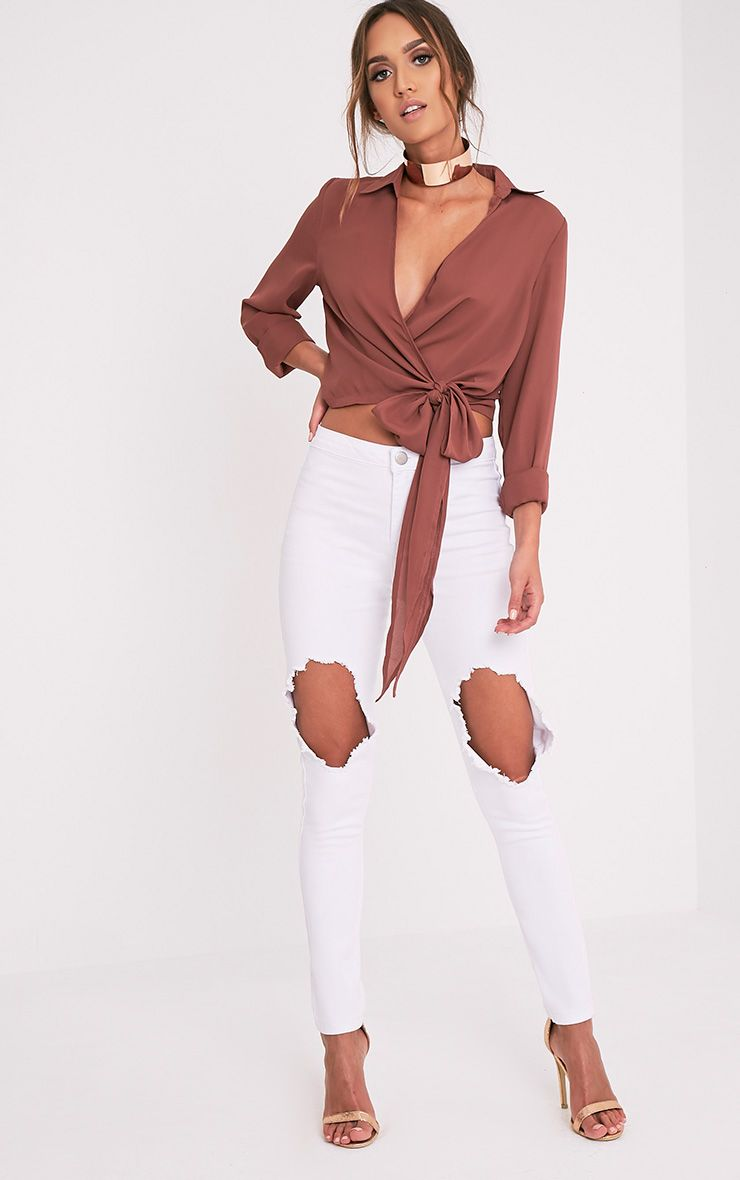 Avalyn Dark Rose Wrap Front Tie Side Blouse Tops