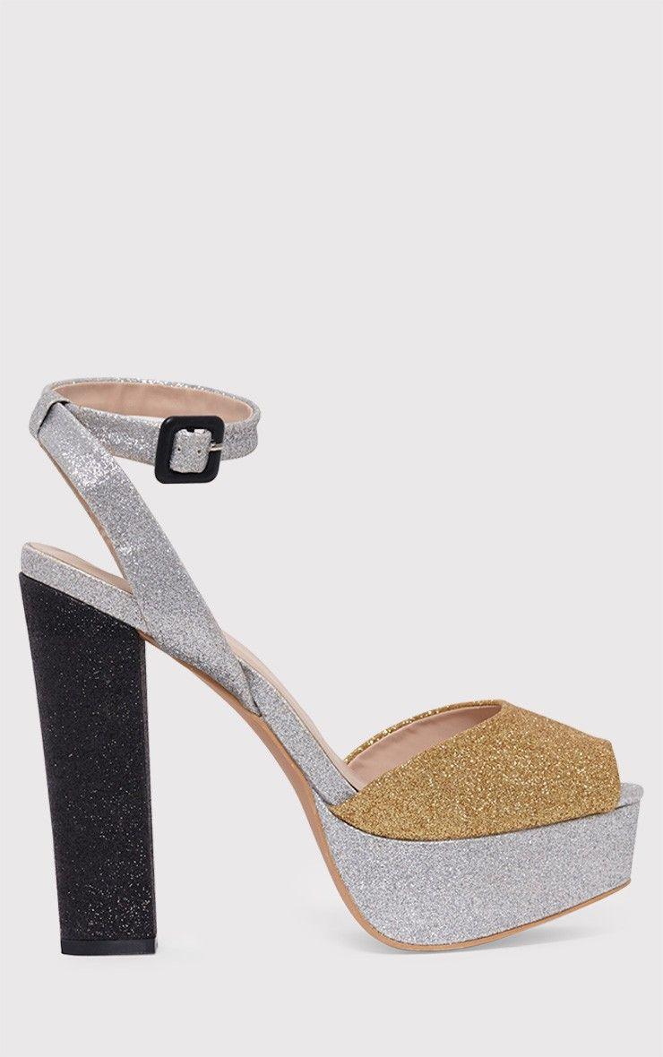 Dianne Gold Glitter Platform Heels
