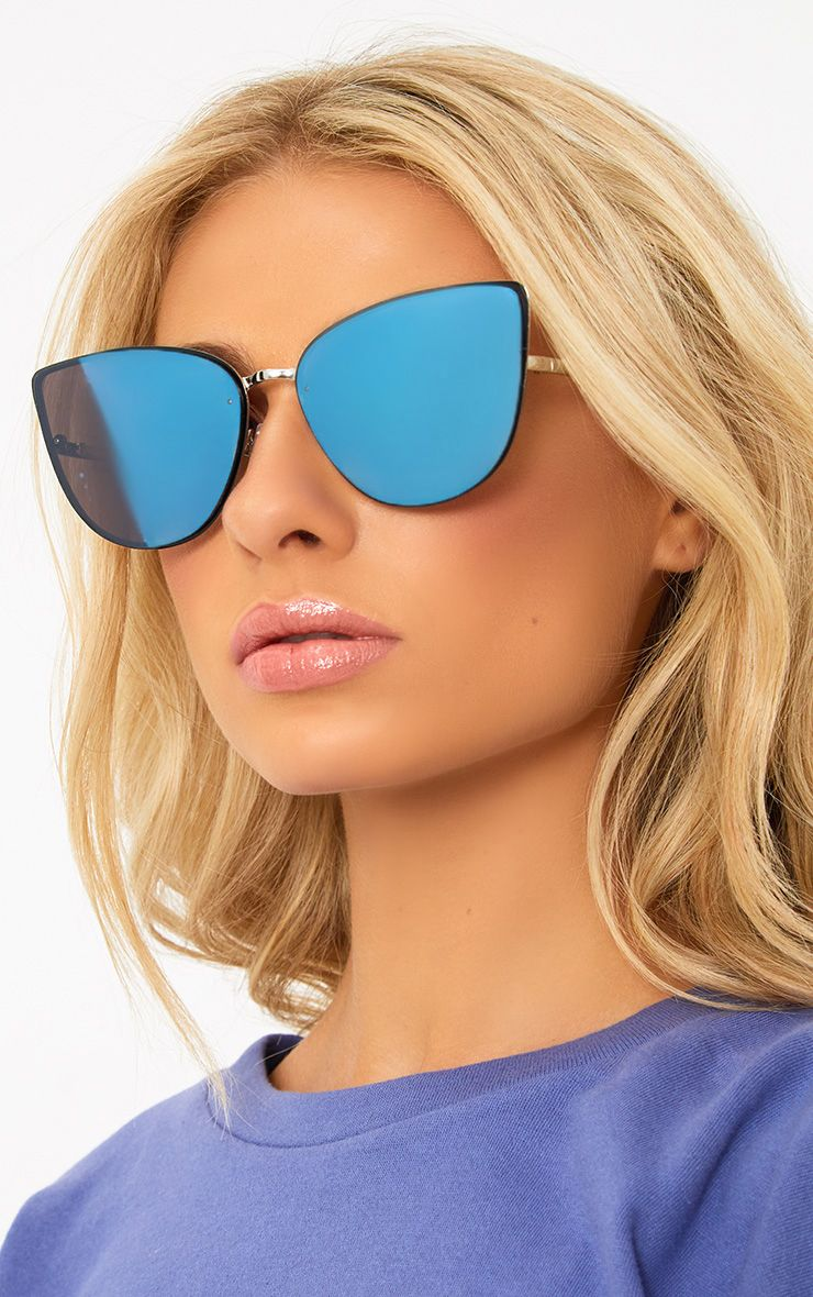 Blue Mirror Lens Frameless Sunglasses