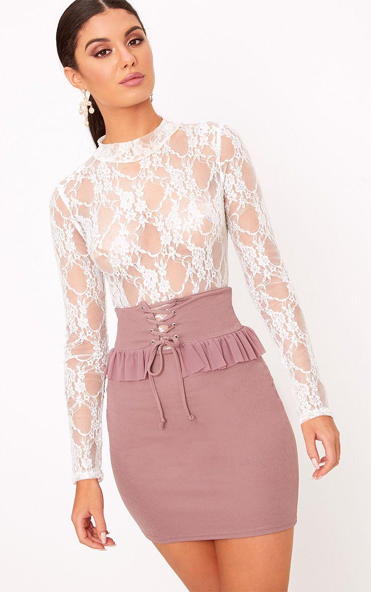 Janessa Dark Mauve Frill Waist Corest Mini Skirt