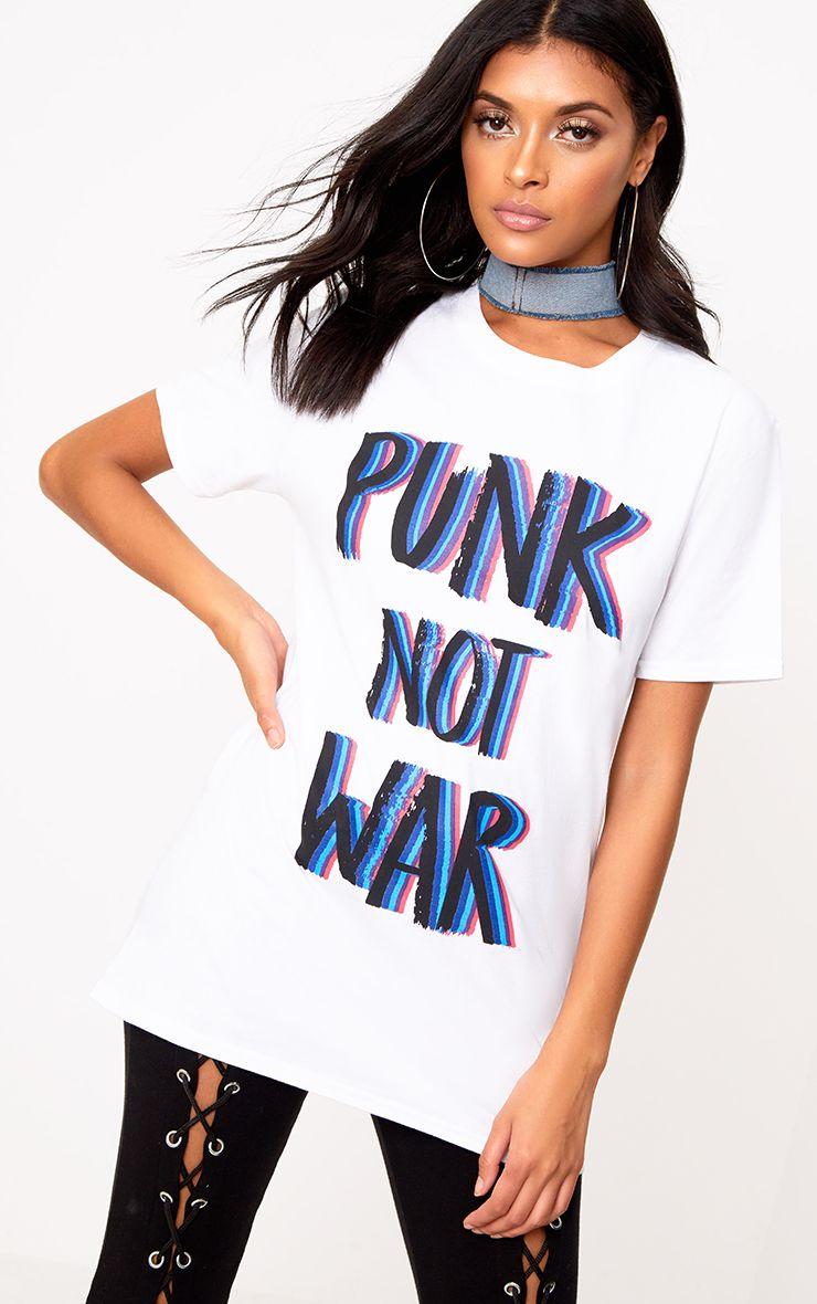 White PUNK NOT WAR Slogan Tie Waist T Shirt