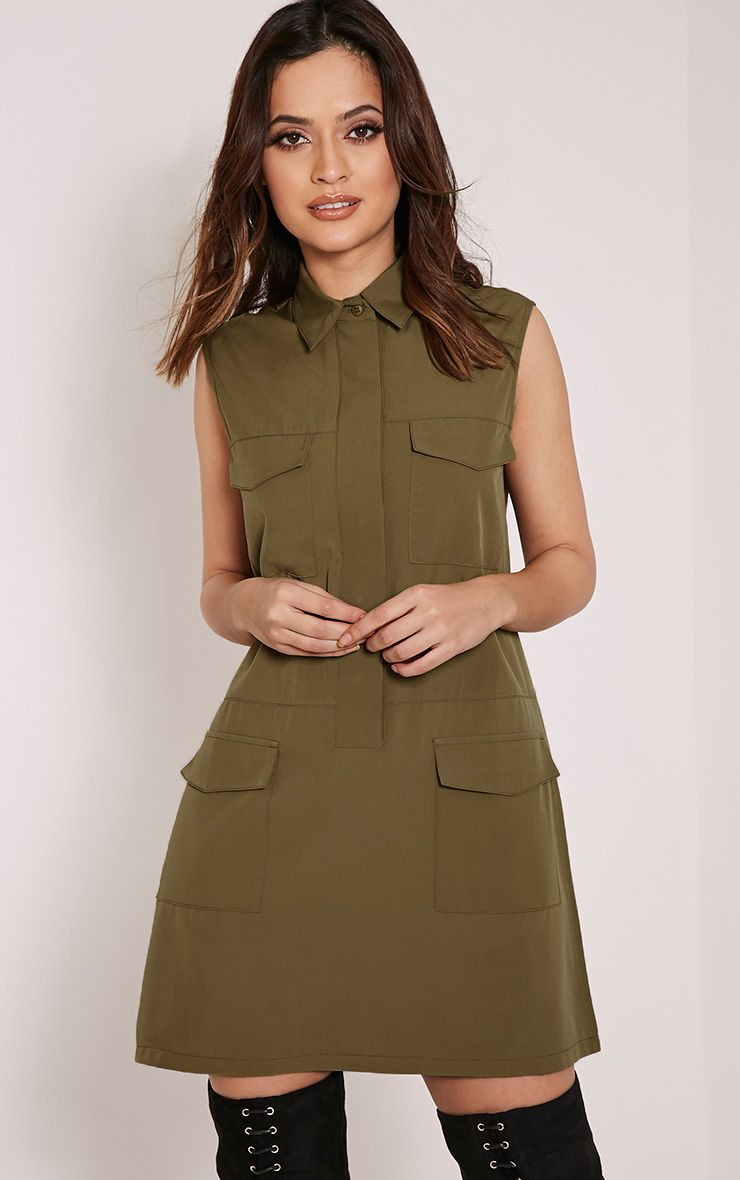 Petra Khaki Utility Shift Dress 1