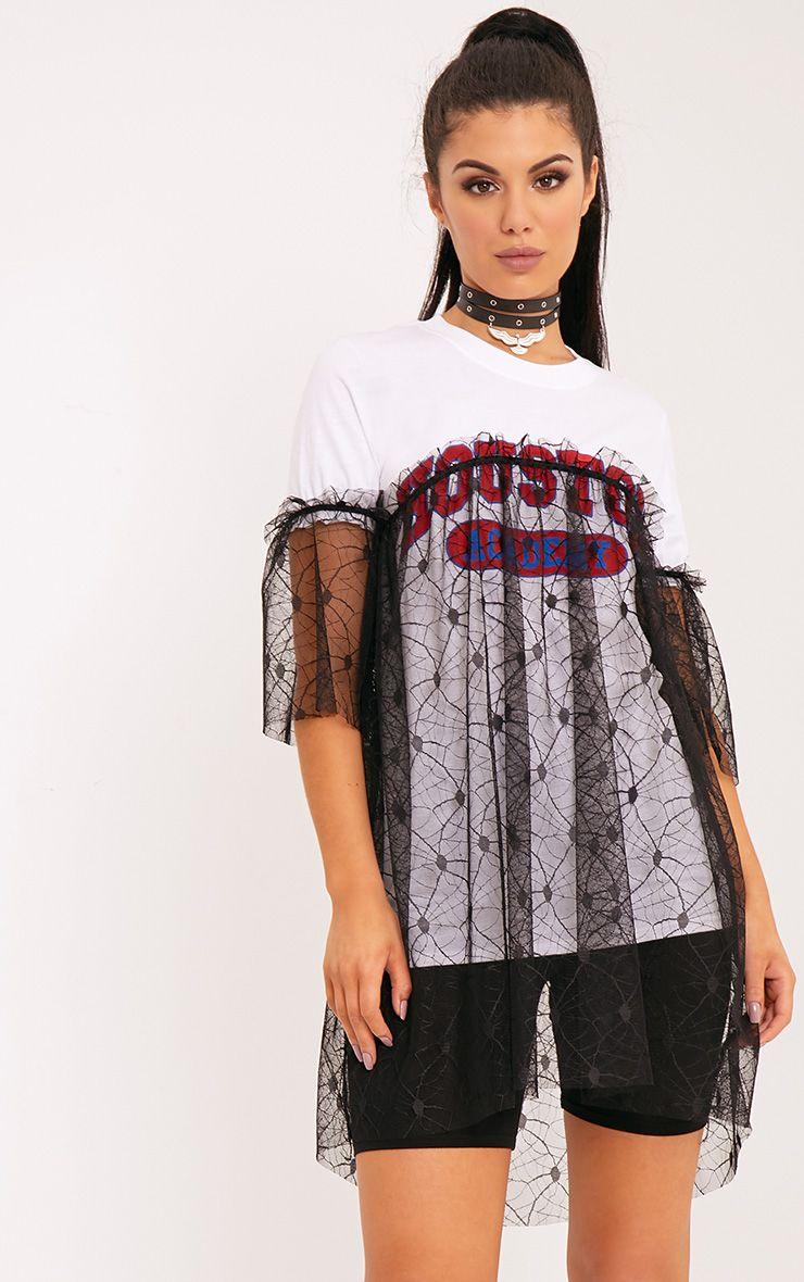 Houston Slogan White Lace Trim Oversized T Shirt