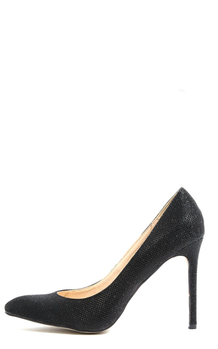 Susie Black Pointed Strap Court Shoes  1