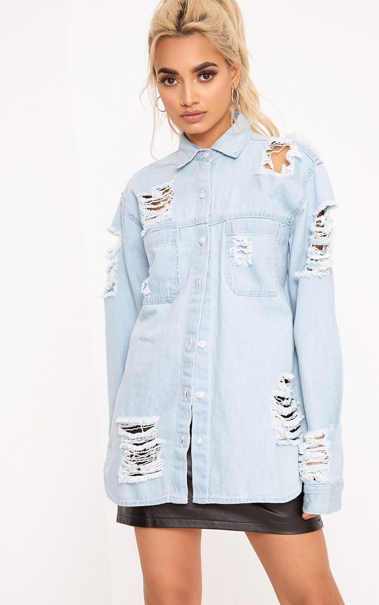 Ferne Super Light Wash Shred Denim Shirt