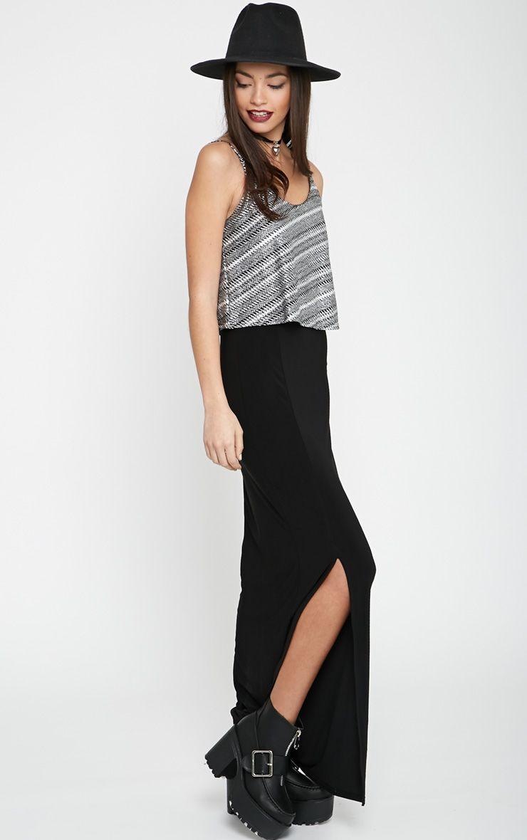 Mya Black Split Maxi Dress with Metallic Frill 1