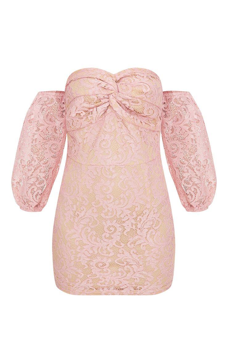 petite robe moulante en dentelle vieux rose avec encolure bardot et manches bouffantes petite. Black Bedroom Furniture Sets. Home Design Ideas