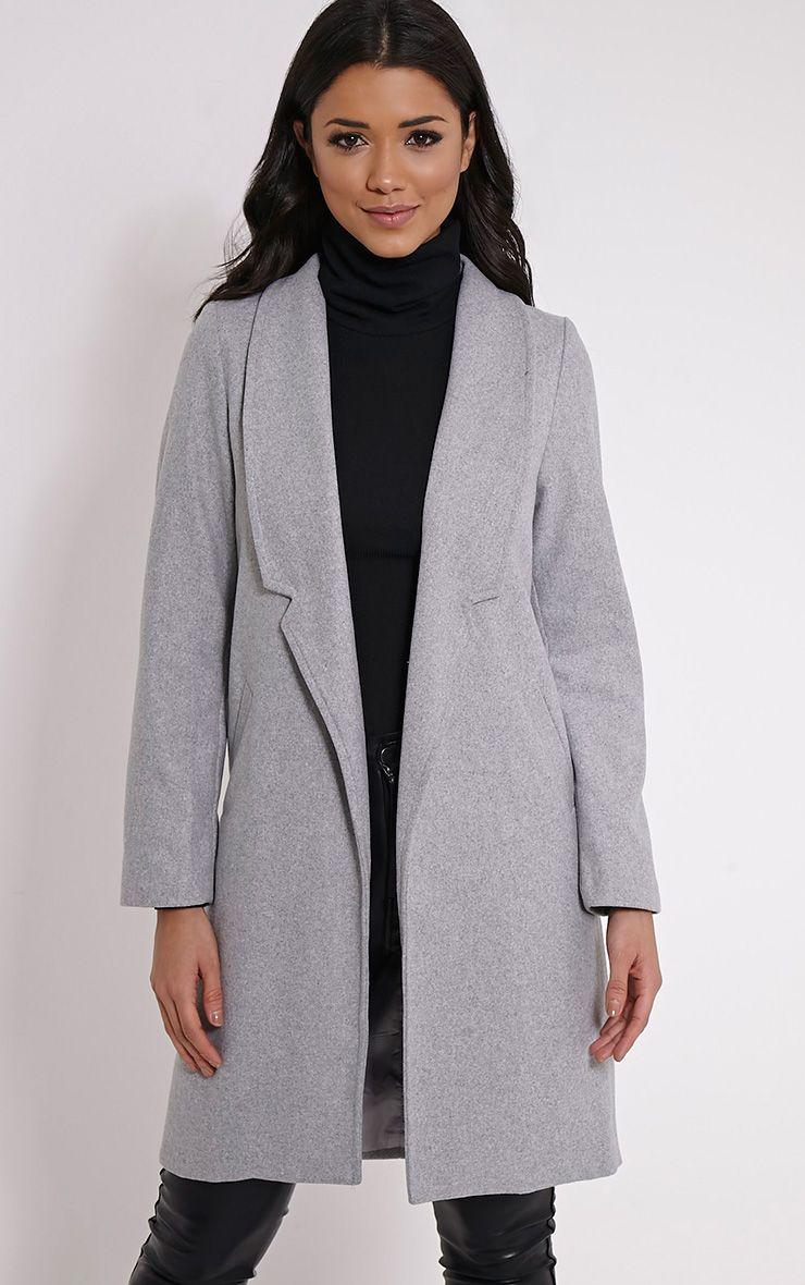 Saletta Grey Oversized Wool Coat 1
