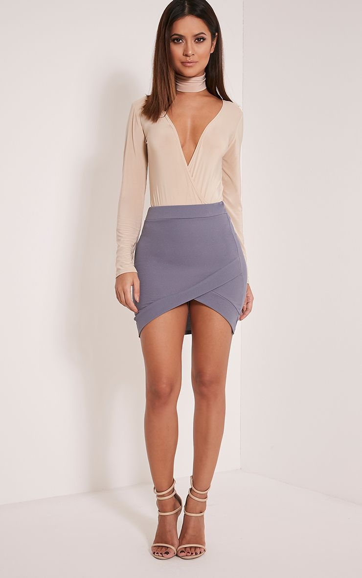 Gabriella Grey Asymmetric Mini Skirt