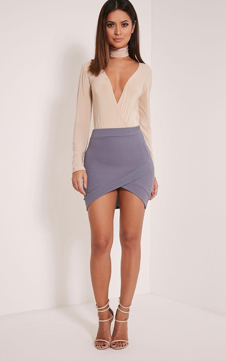 Gabriella Grey Asymmetric Mini Skirt 1