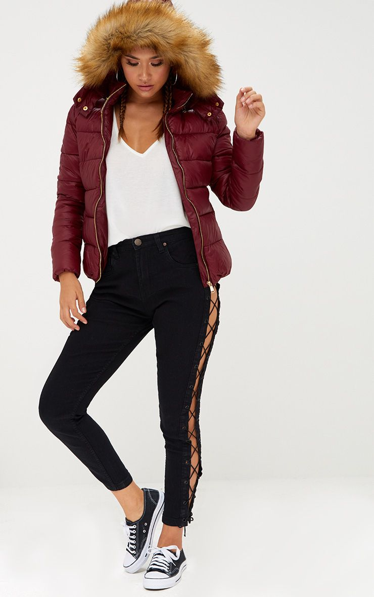 Burgundy Puffer Jacket With Faux Fur Hood Coats Amp Jackets