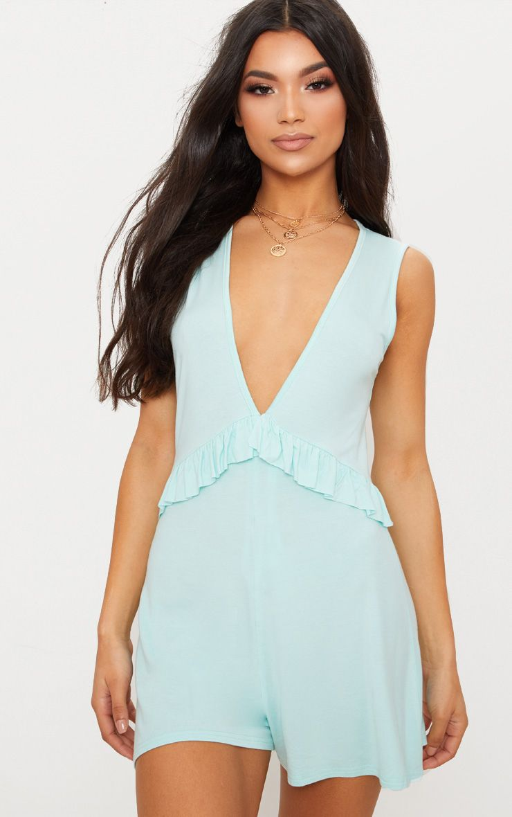 Mint Sleeveless Frill Detail Playsuit