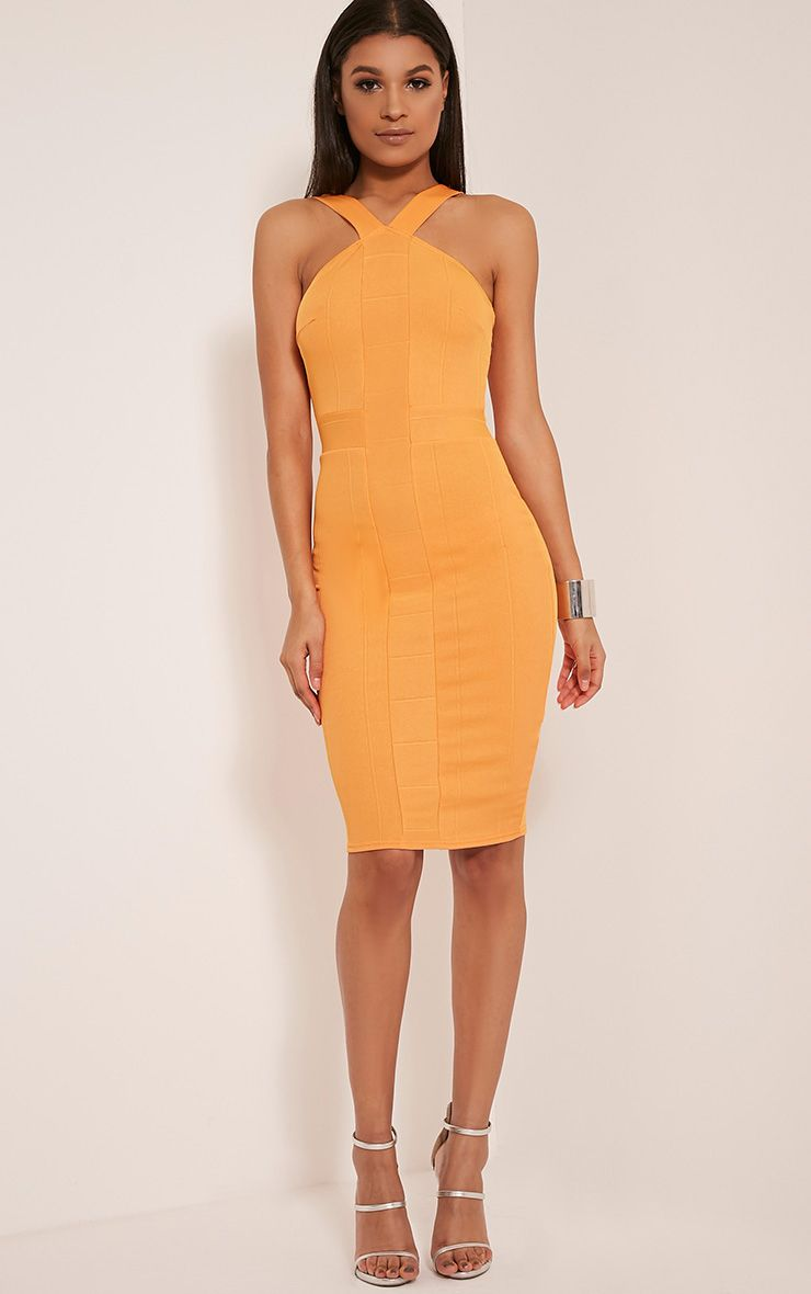 Meryl Bright Orange Bandage Strap Detail Bodycon Dress