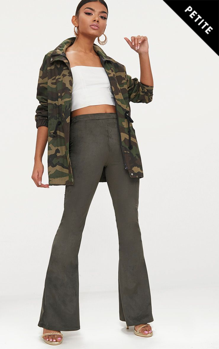 Petite Khaki Suedette Flared Trousers