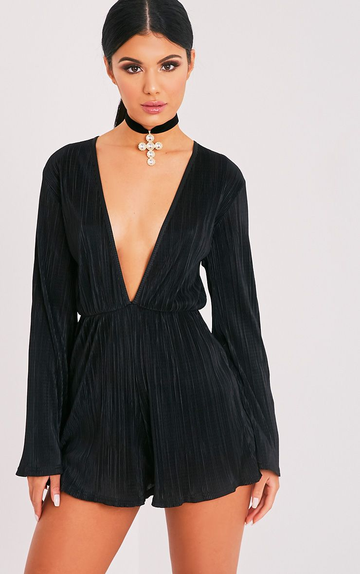 Tamara Black Lurex Pleated Bell Sleeve Playsuit