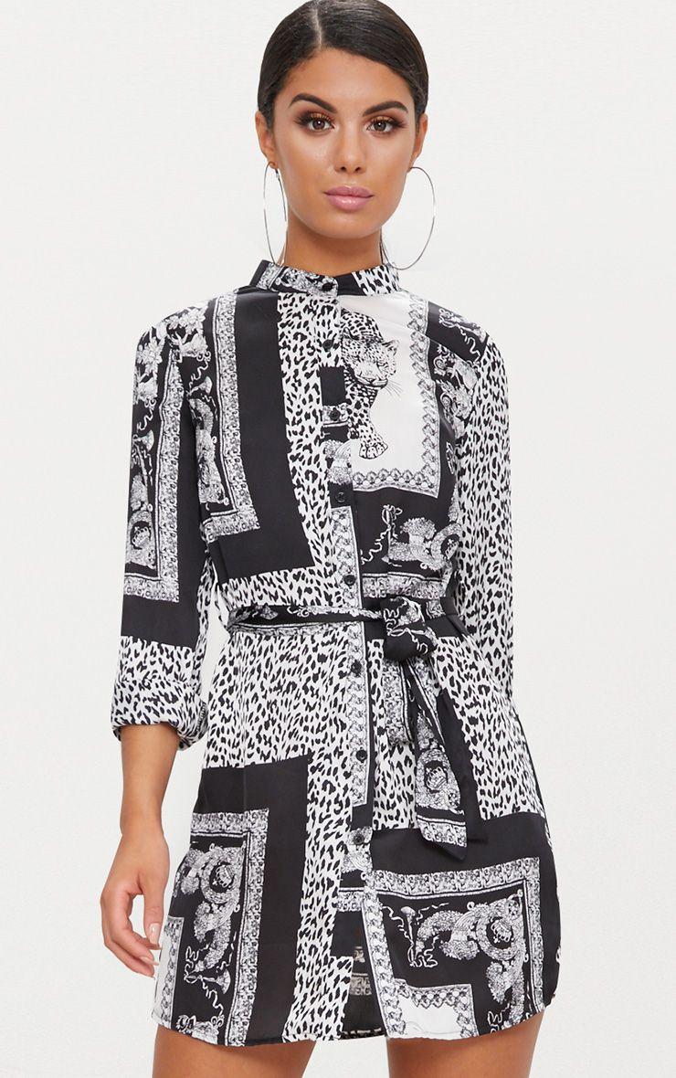 Black Leopard Scarf Print Tie Waist Shirt Dress