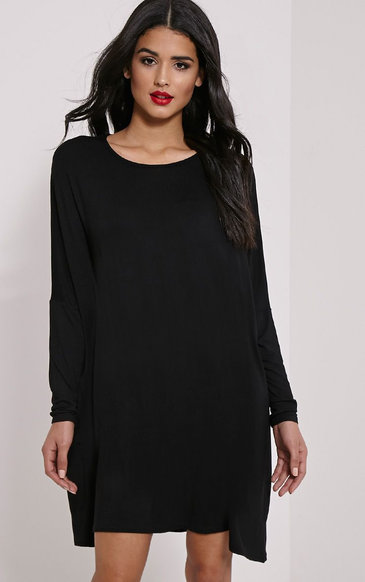 Basic Black Long Sleeve Jersey Dress 1