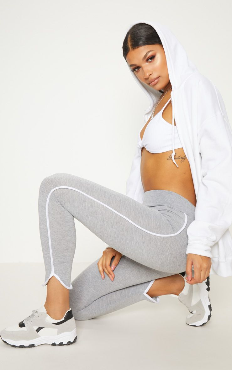 Grey High Waisted Curve Hem Detail Legging