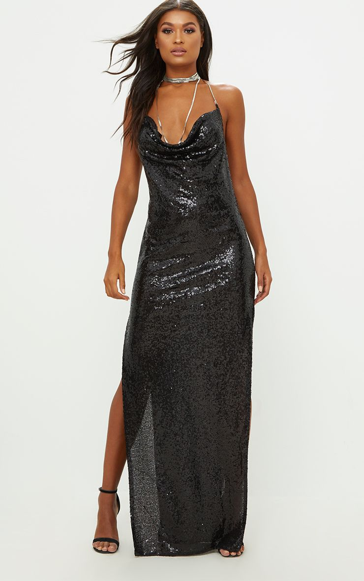 Black Sequin Chain Choker Maxi Dress