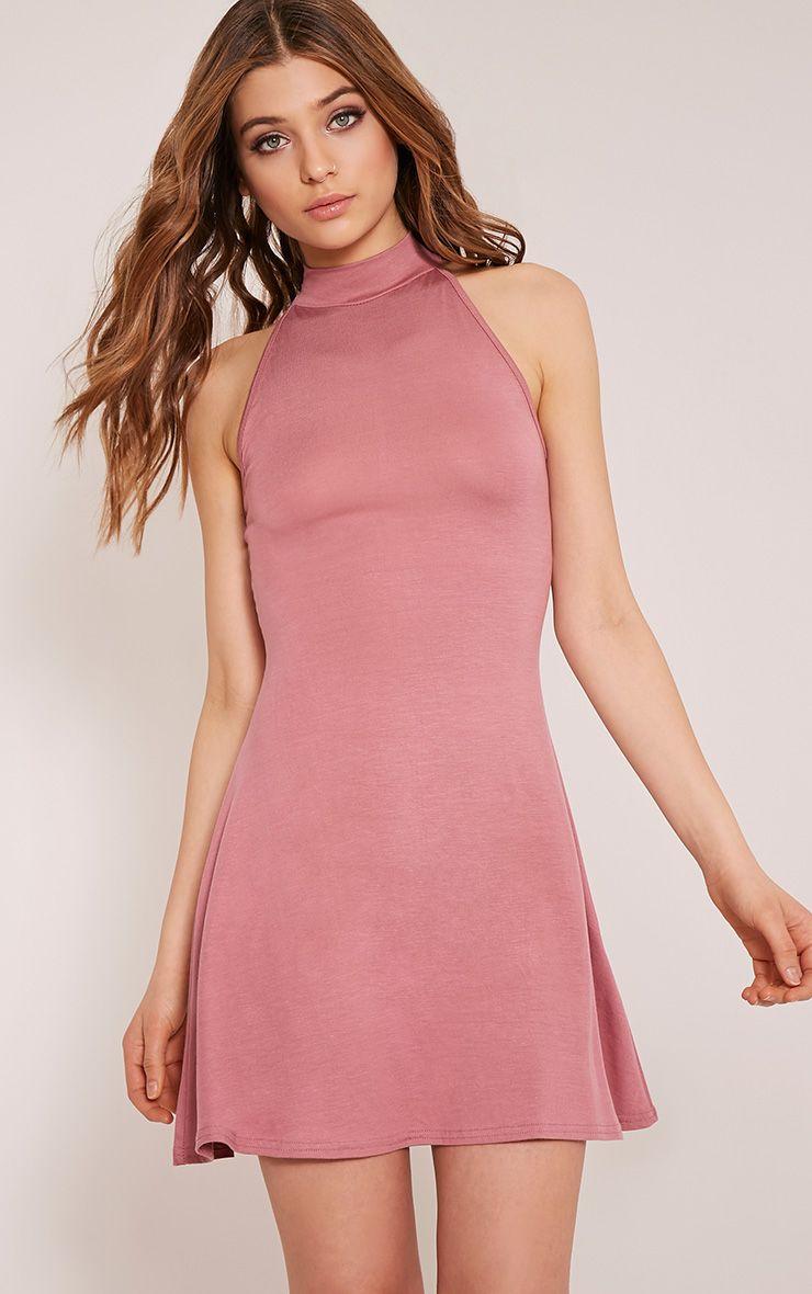 Basic Rose High Neck Jersey Skater Dress 1