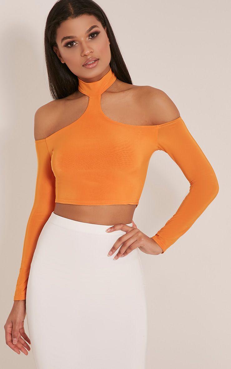 Rosalee Bright Orange Cut Out Shoulder Crop Top 1